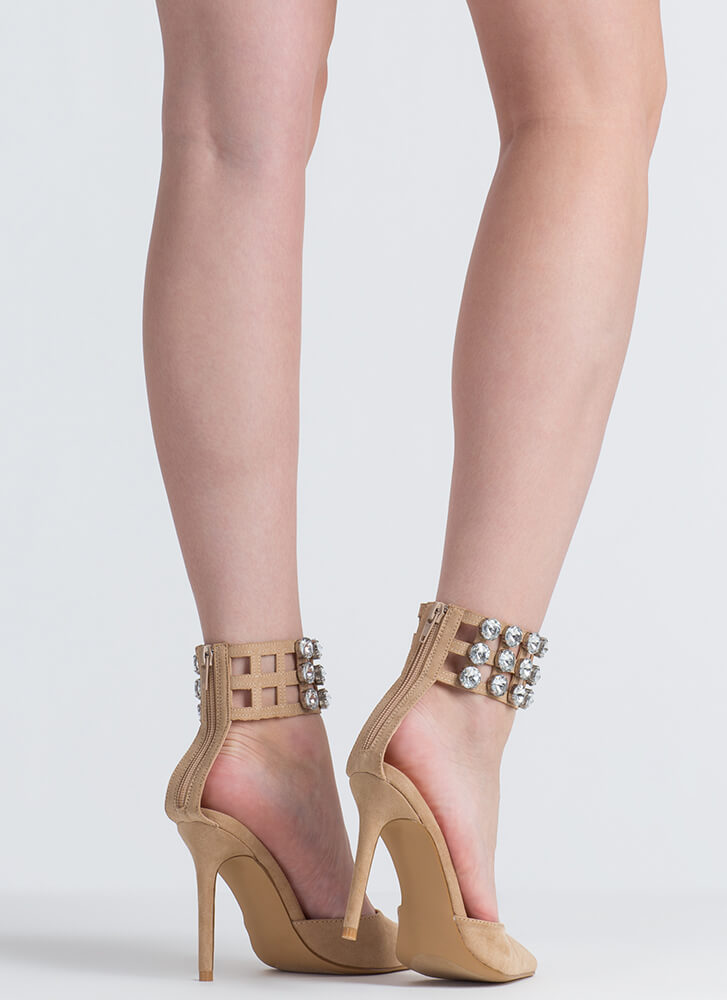 Jewel Heist Pointy Caged Cuff Heels NUDE