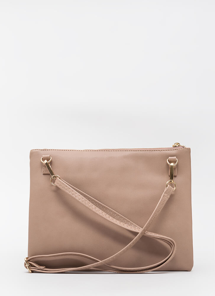 Grid Luck To You Faux Pearl Clutch TAUPE