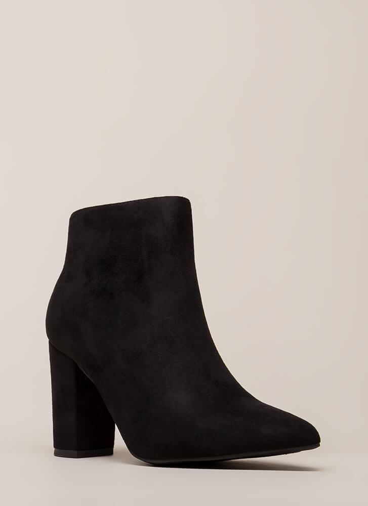 Point Being Chunky Faux Suede Booties BLACK