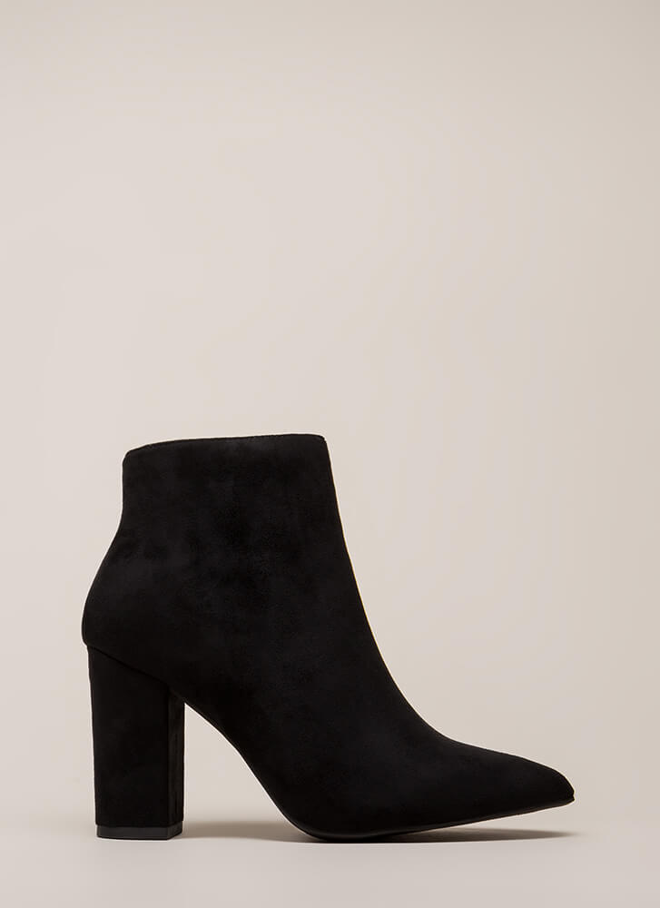 Point Being Chunky Faux Suede Booties BLACK (You Saved $20)