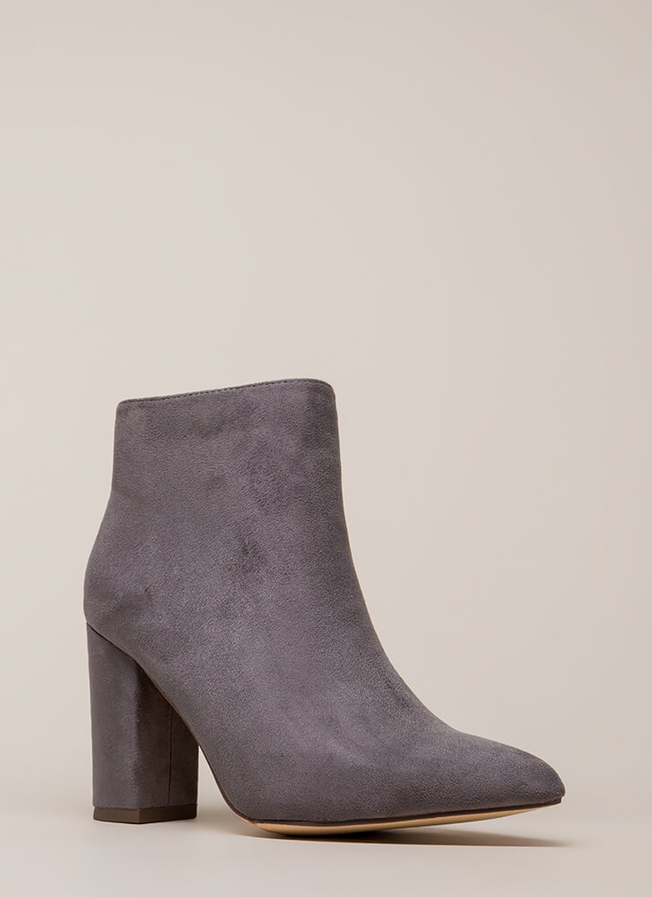 Point Being Chunky Faux Suede Booties GREY