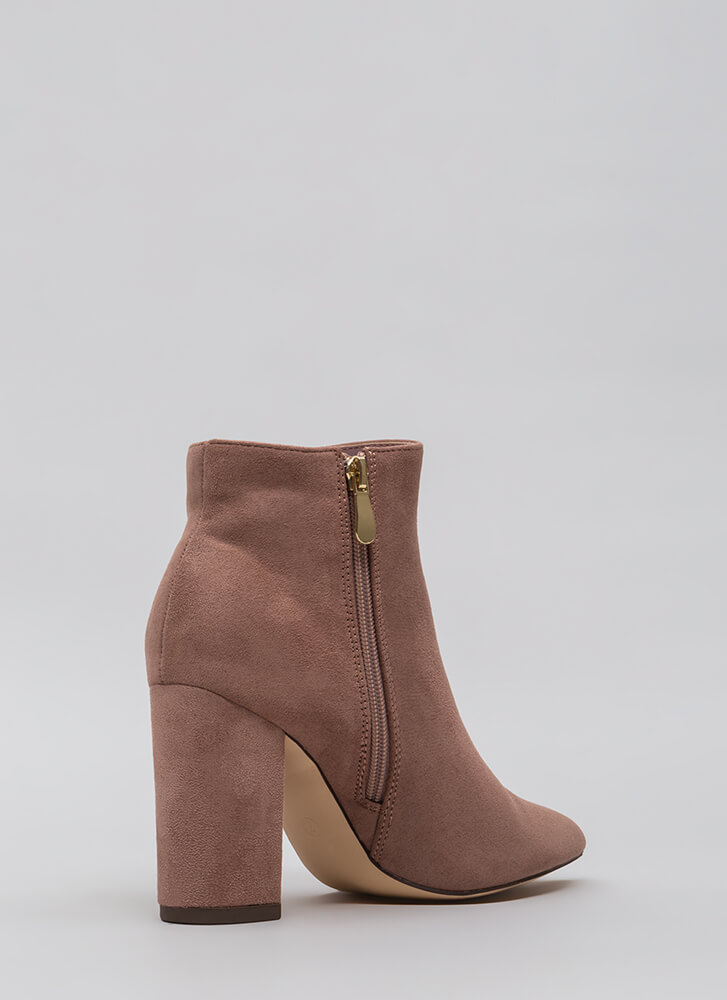 Point Being Chunky Faux Suede Booties MAUVE