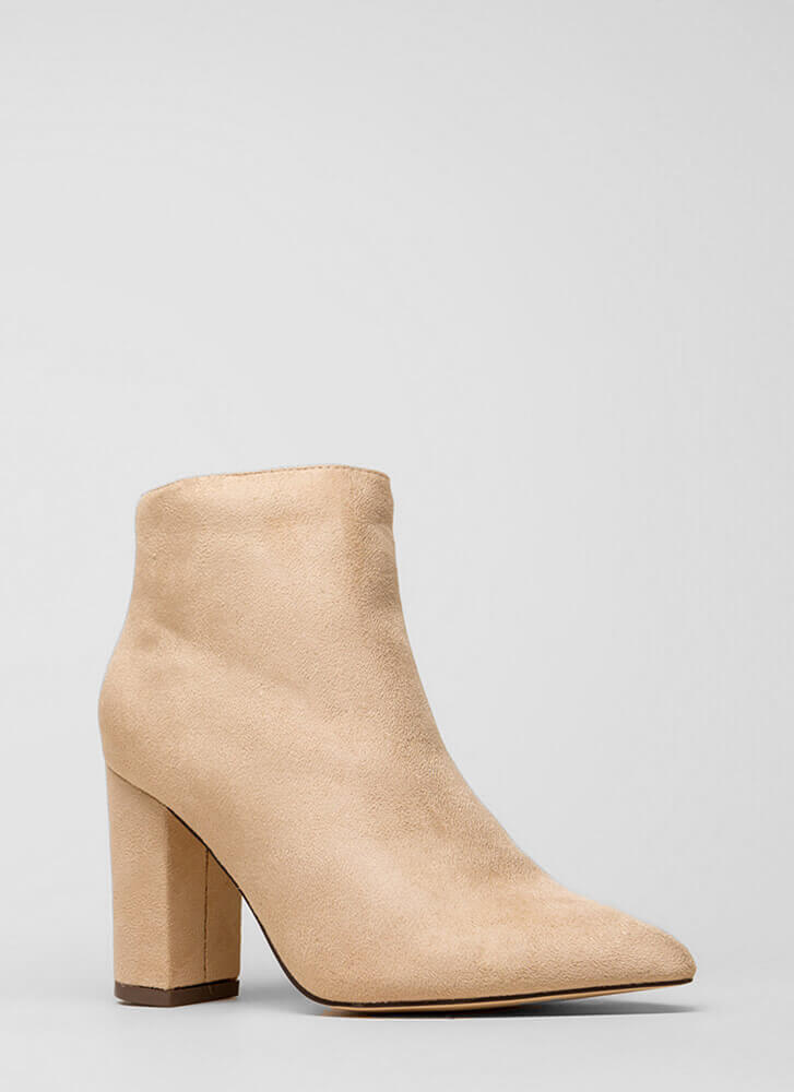 Point Being Chunky Faux Suede Booties NUDE (You Saved $20)
