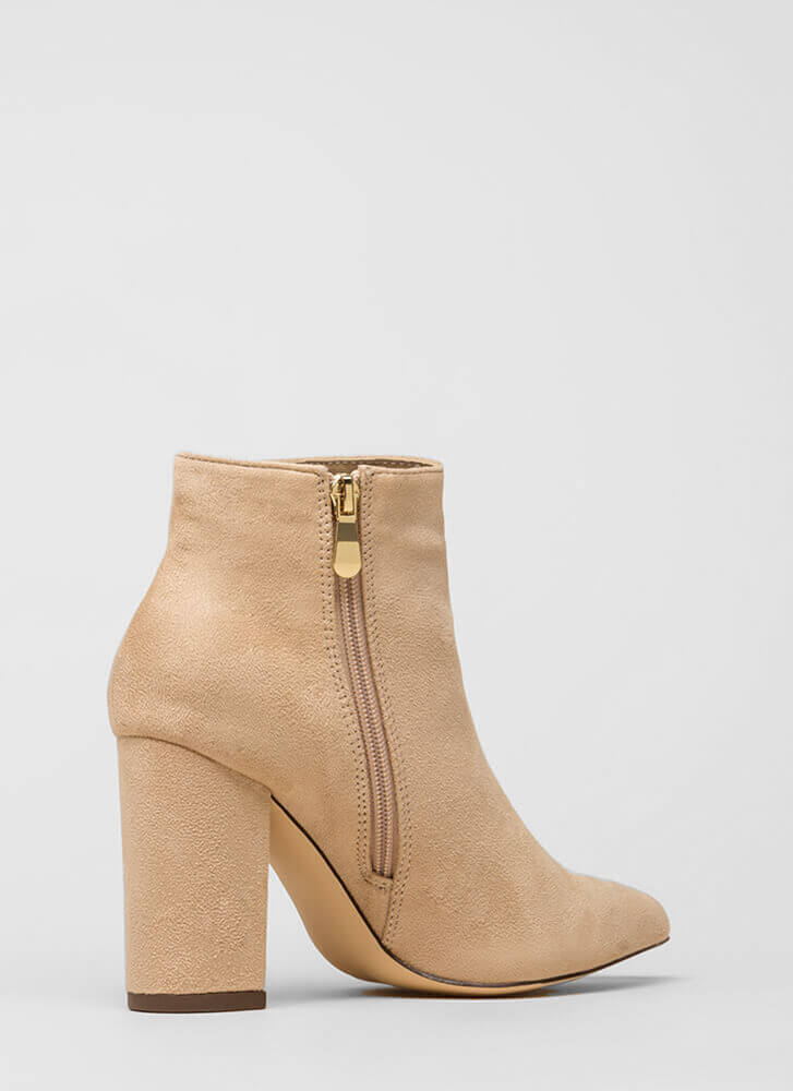Point Being Chunky Faux Suede Booties NUDE