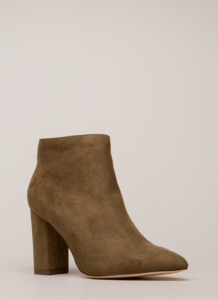 Point Being Chunky Faux Suede Booties OLIVE (You Saved $20)