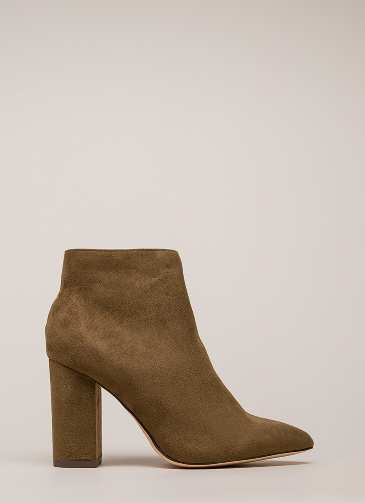 Point Being Chunky Faux Suede Booties OLIVE