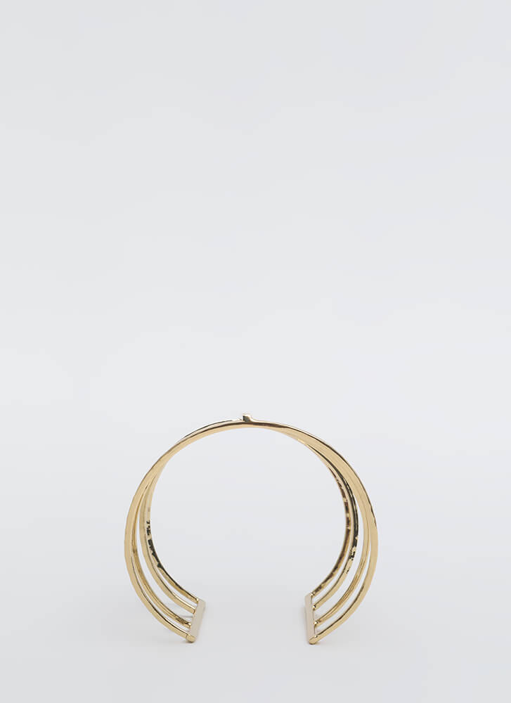 Sing A Few Bars Caged Cut-Out Cuff GOLD