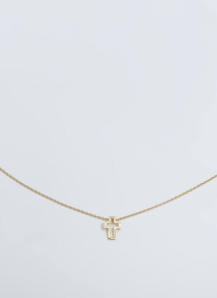 Cut That Out Cross Charm Necklace GOLD