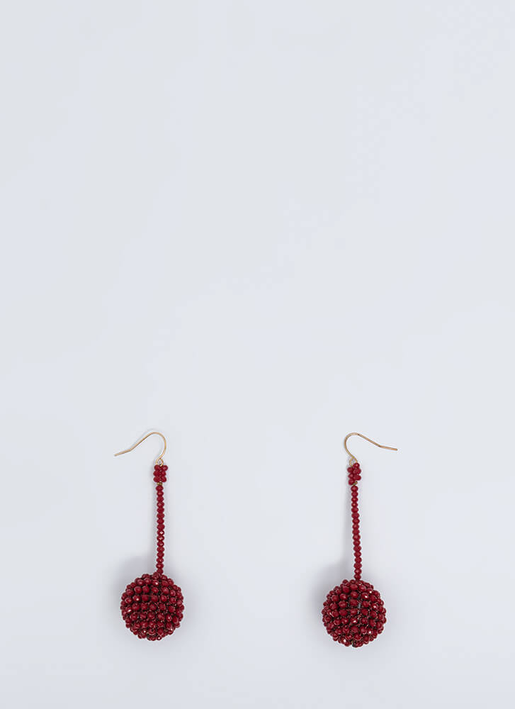 Have A Ball Dangling Beaded Earrings BURGUNDY
