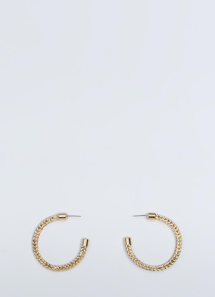 Roped In Braided Partial Hoop Earrings GOLD (You Saved $6)