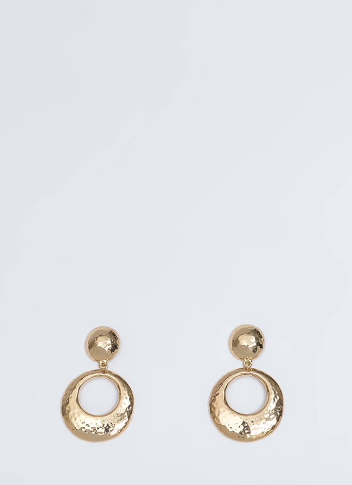 My Circle Hammered Cut-Out Earrings GOLD