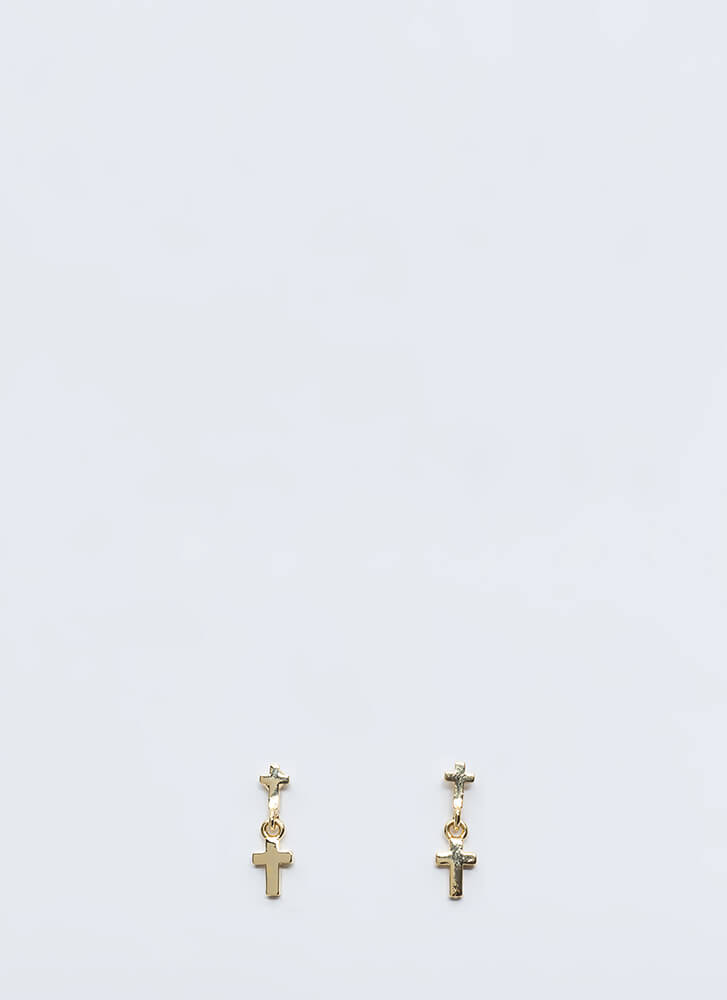 Double Cross You Charm Earrings GOLD