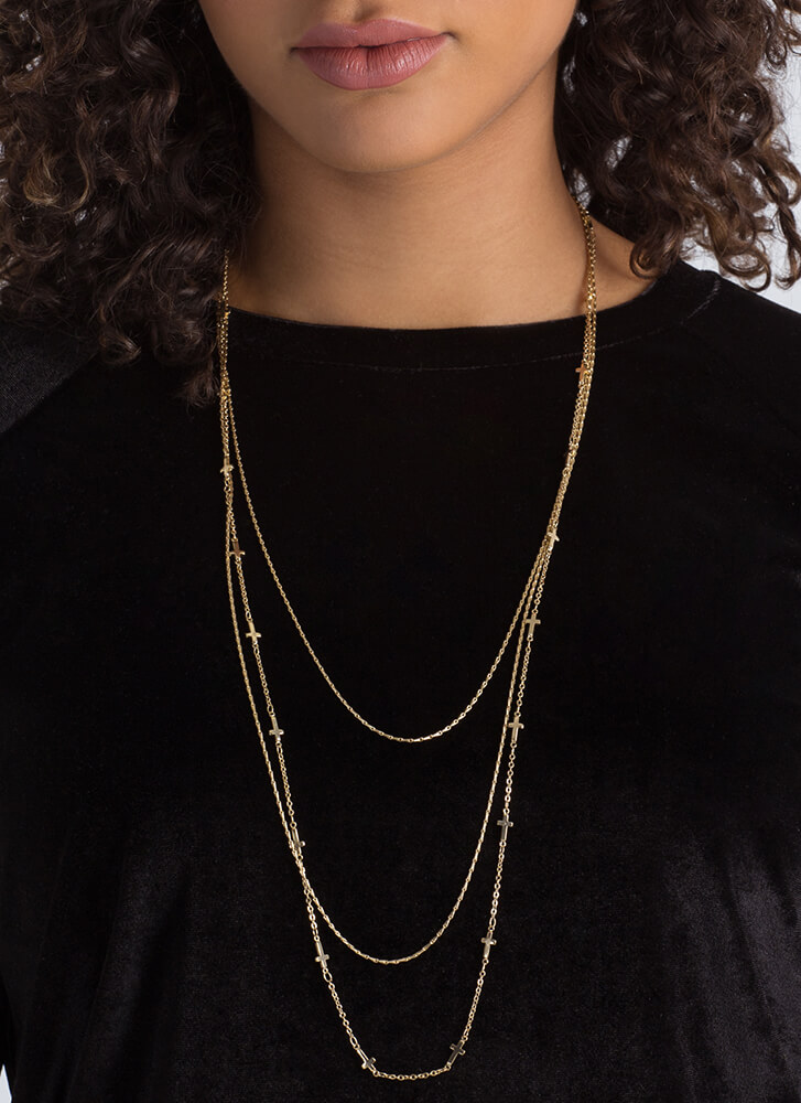 Sideways Stare Cross Charm Necklace GOLD (You Saved $9)
