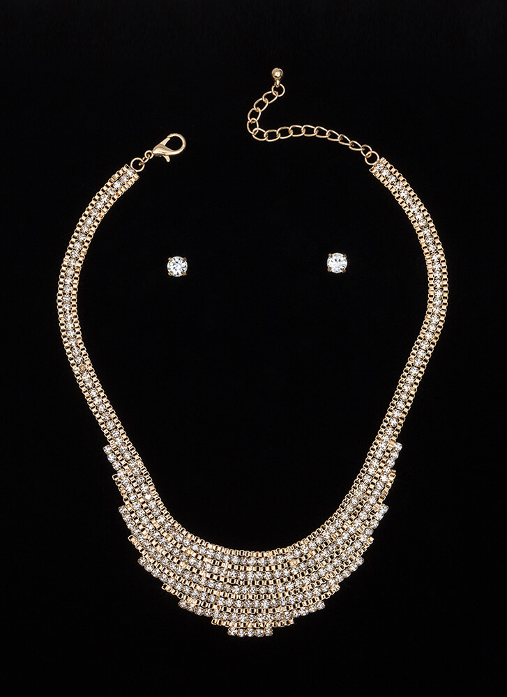 Blinged Out Jeweled Chain Necklace Set GOLD