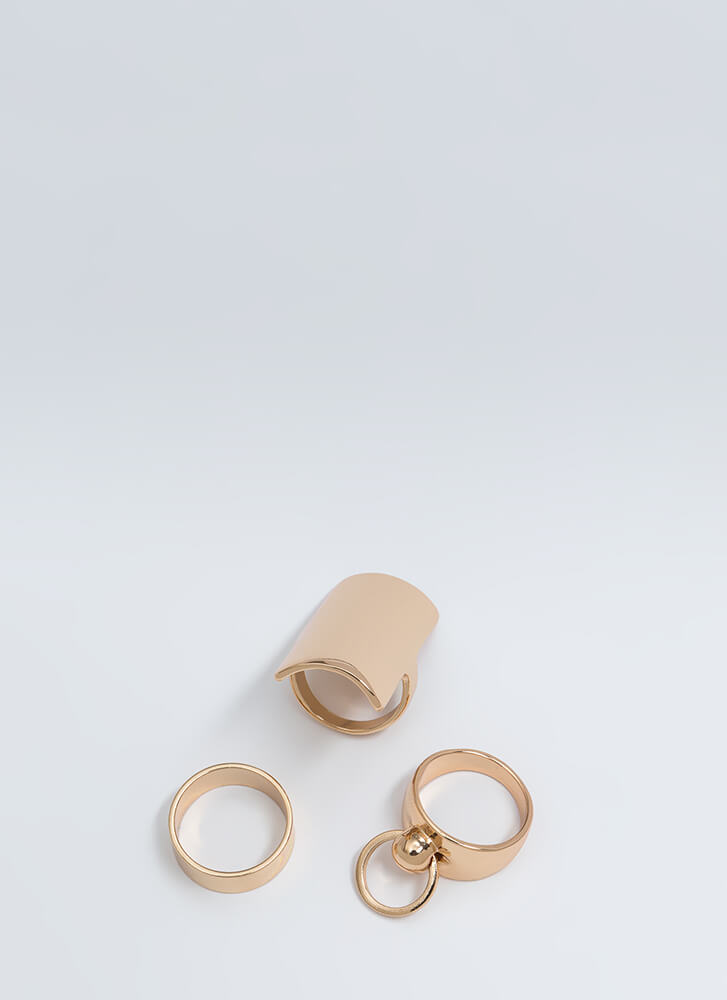 Knock Knock Chunky Ring Trio GOLD (You Saved $9)