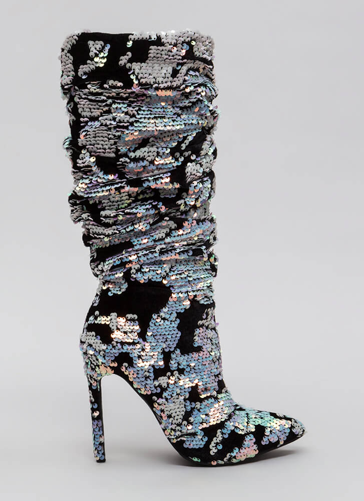 Sequin Story Slouchy Velvet Boots PINK (You Saved $59)