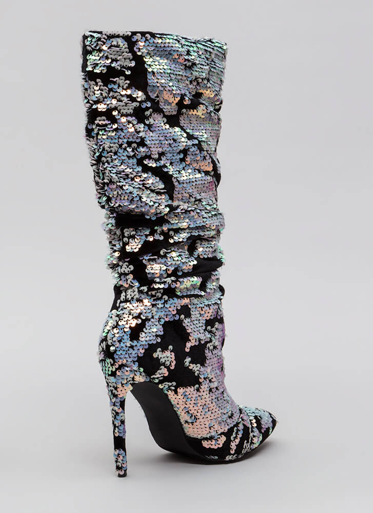 Sequin Story Slouchy Velvet Boots PINK
