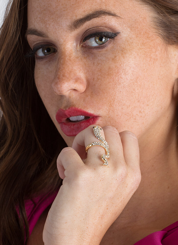 Slither Away Jeweled Snake Ring GOLD (You Saved $6)