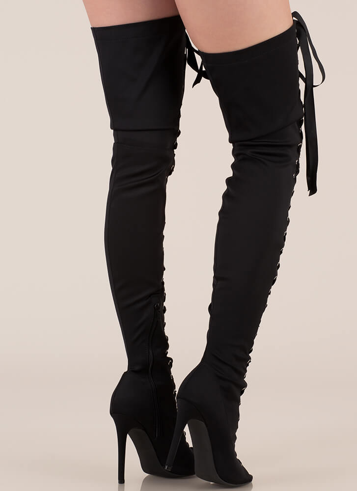 Air Up There Lace-Up Thigh-High Boots BLACK