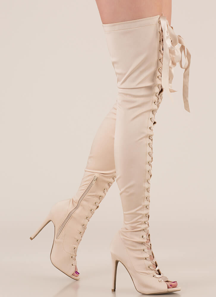 Air Up There Lace-Up Thigh-High Boots CHAMPAGNE