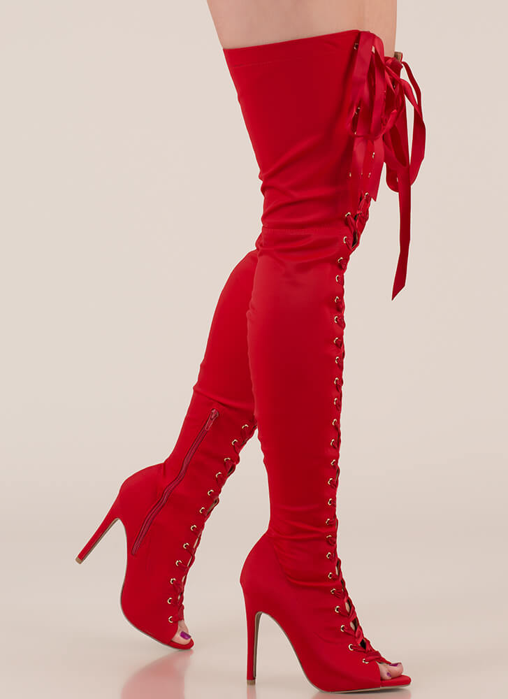 Air Up There Lace-Up Thigh-High Boots RED