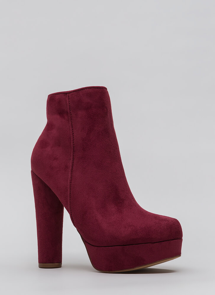 Pipe Dream Chunky Platform Booties WINE