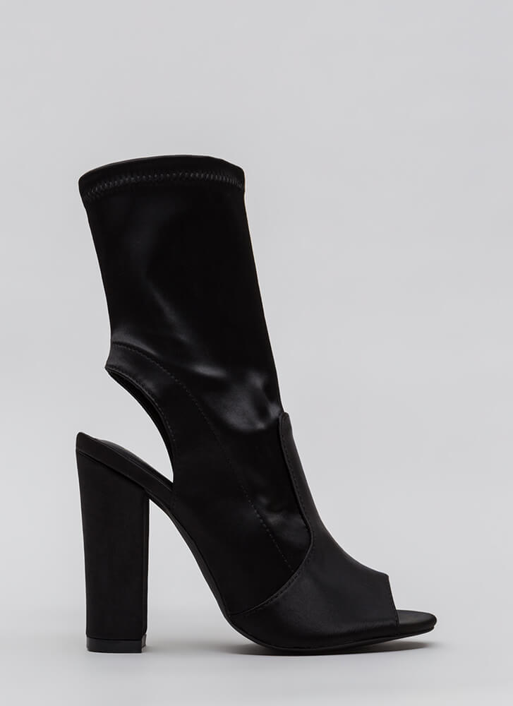 Sexy In Satin Cut-Out Peep-Toe Booties BLACK