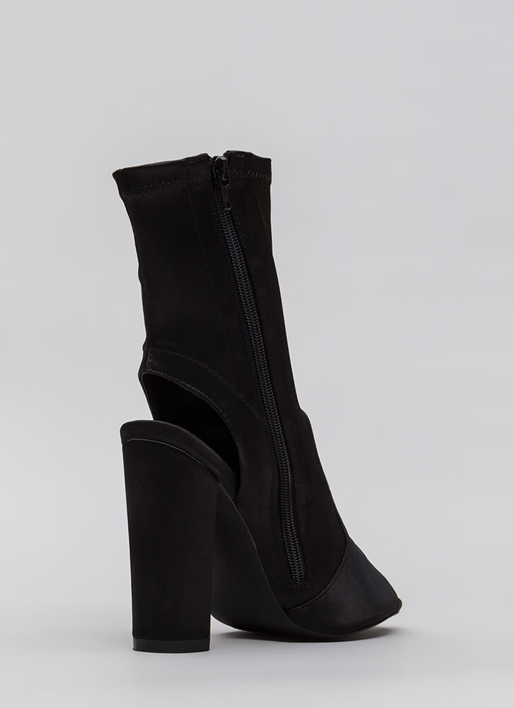 Sexy In Satin Cut-Out Peep-Toe Booties BLACK (You Saved $29)