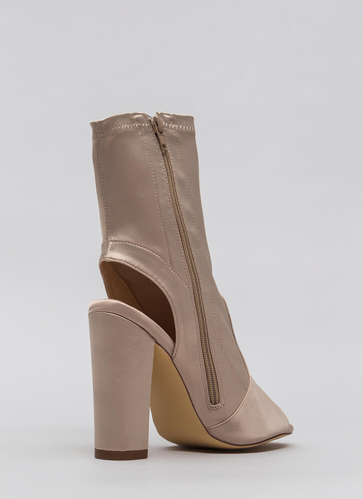 Sexy In Satin Cut-Out Peep-Toe Booties CHAMPAGNE