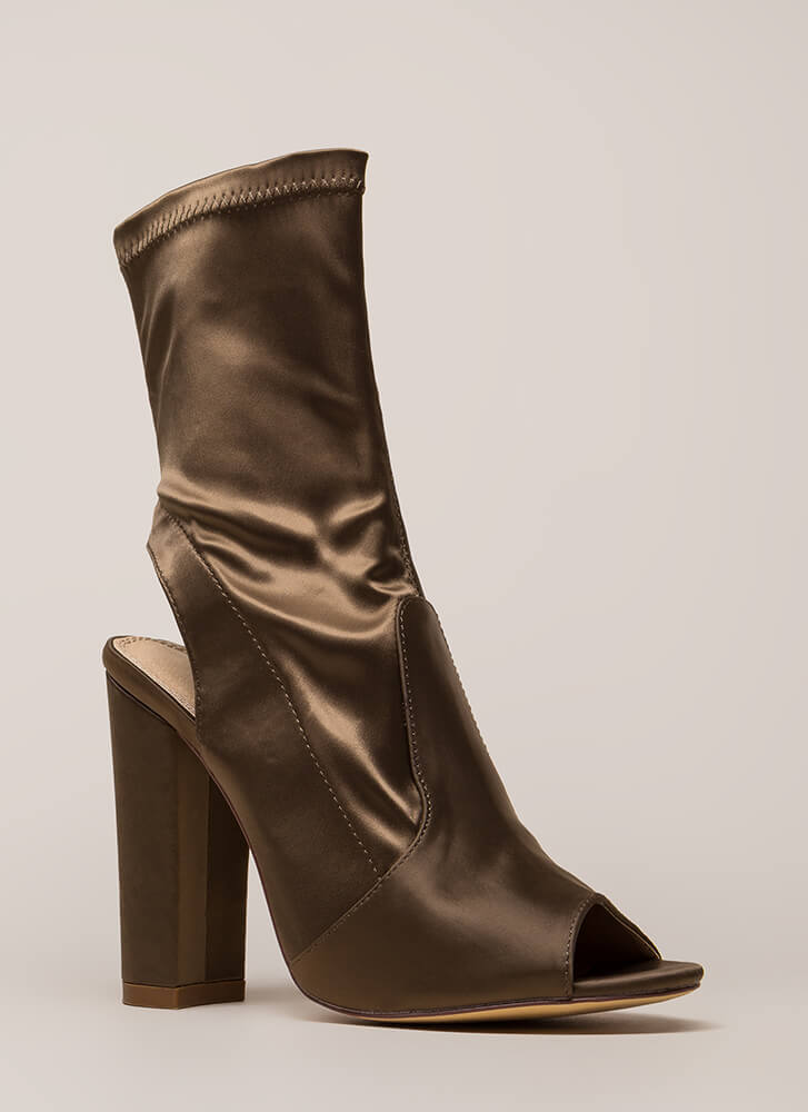 Sexy In Satin Cut-Out Peep-Toe Booties OLIVE