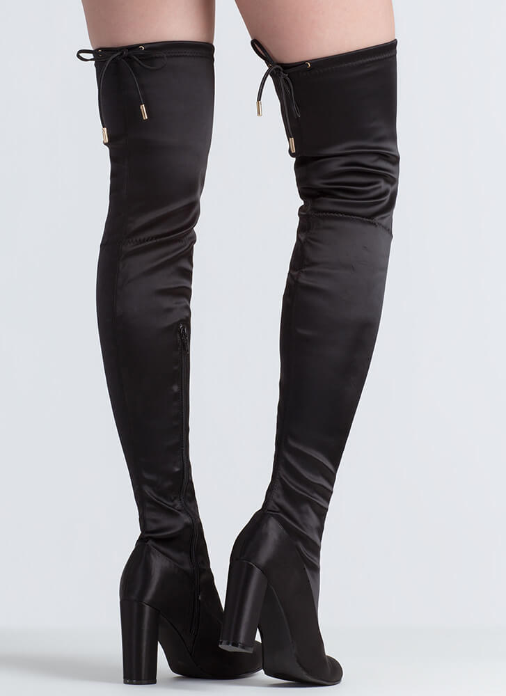 Starting With Satin Thigh-High Boots BLACK
