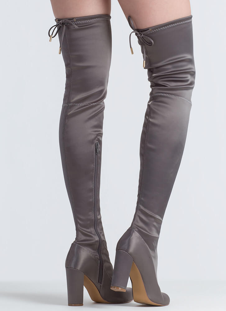 Starting With Satin Thigh-High Boots GREY