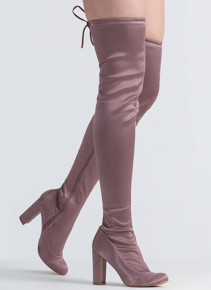 Starting With Satin Thigh-High Boots MAUVE