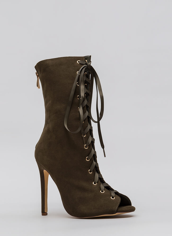 Tall Tales Lace-Up Peep-Toe Booties OLIVE