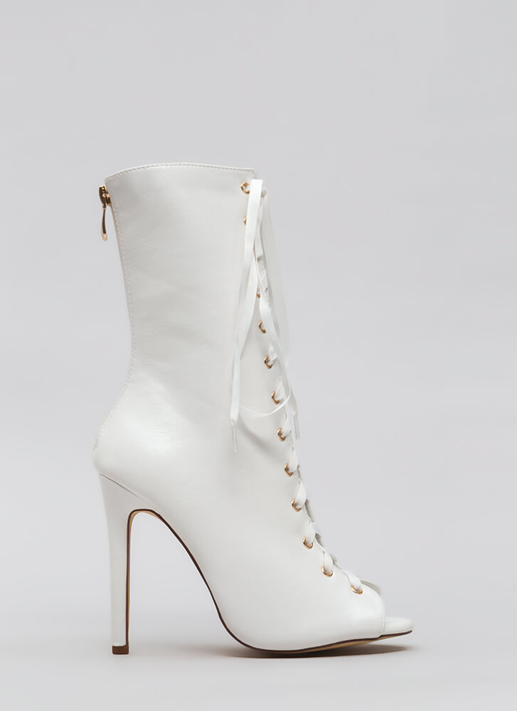 Tall Tales Lace-Up Peep-Toe Booties WHITE