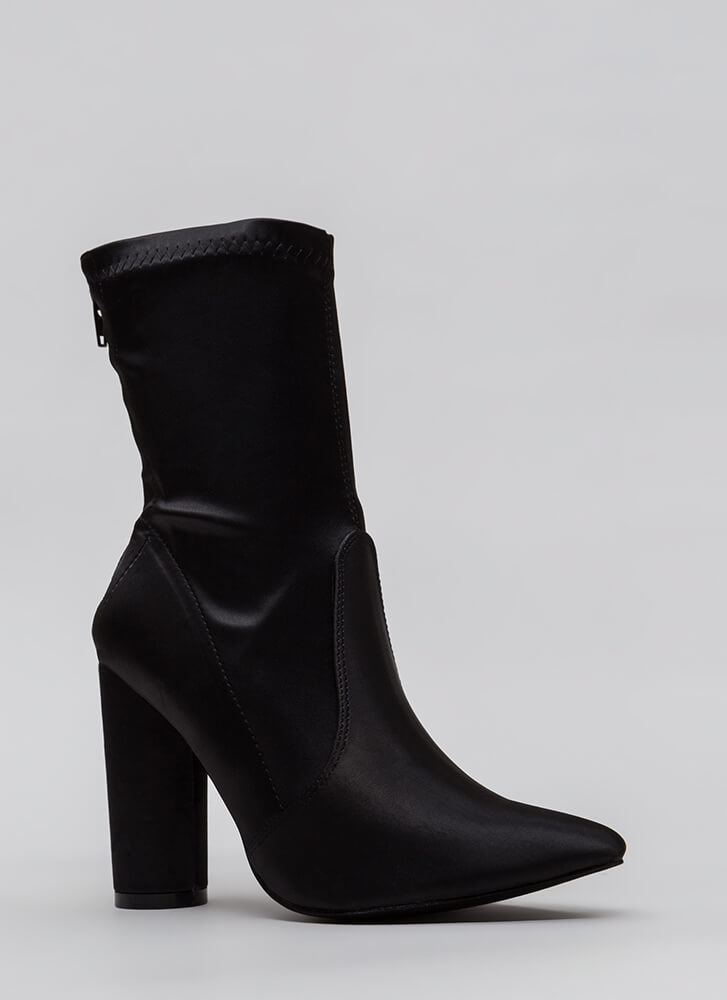 Sleeker In Satin Chunky Booties BLACK