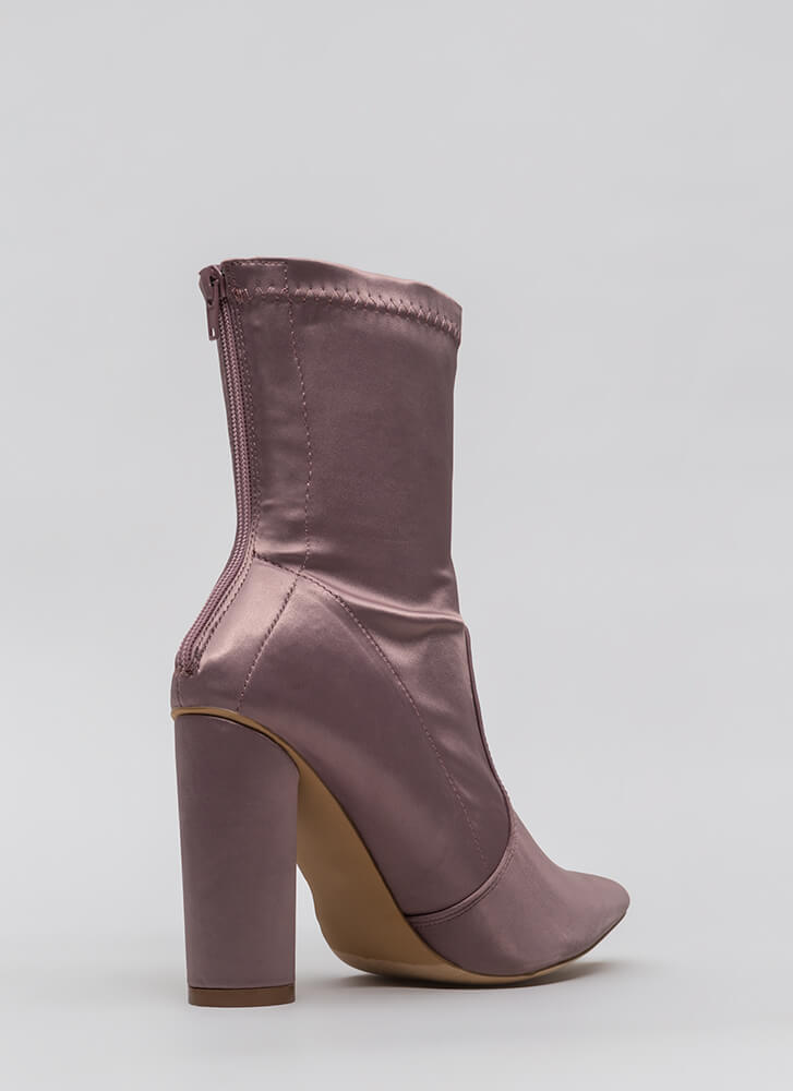 Sleeker In Satin Chunky Booties MAUVE