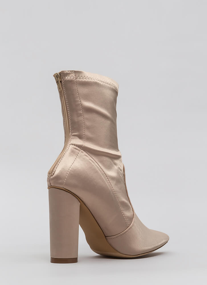 Sleeker In Satin Chunky Booties NUDE