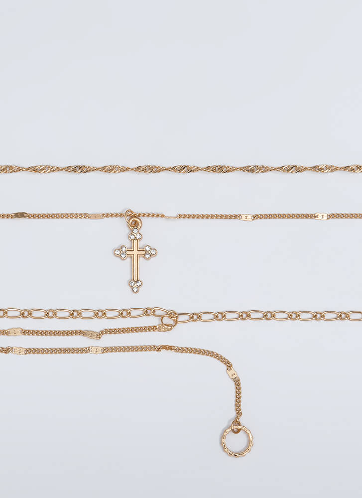 Together Or Apart Chain Choker Trio GOLD
