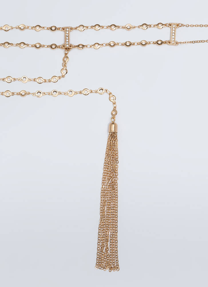 Drop The Subject Tasseled Chain Choker GOLD