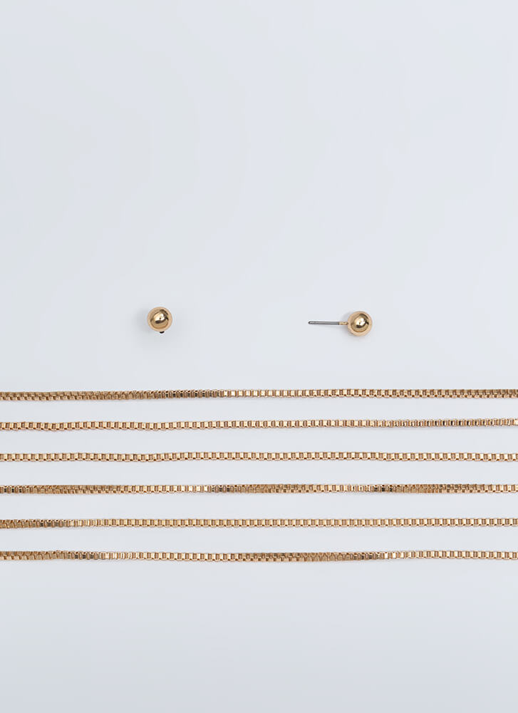 Outside The Box Chain Necklace Set GOLD