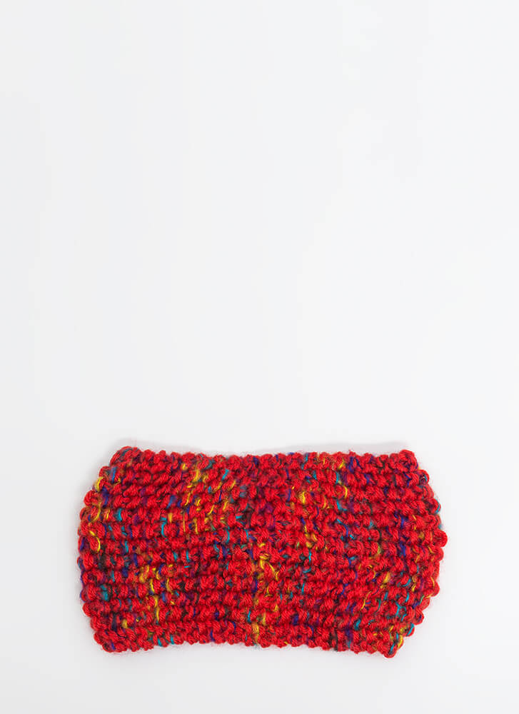 Head Cold Wide Knitted Headband RED