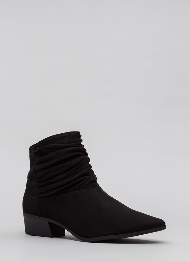 A Little Slouch Block Heel Booties BLACK