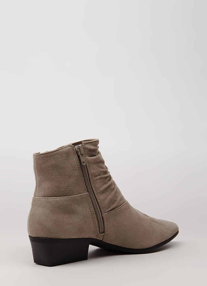 A Little Slouch Block Heel Booties GREY