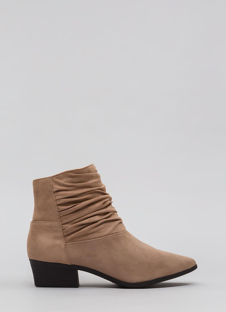 A Little Slouch Block Heel Booties WARMTAUPE