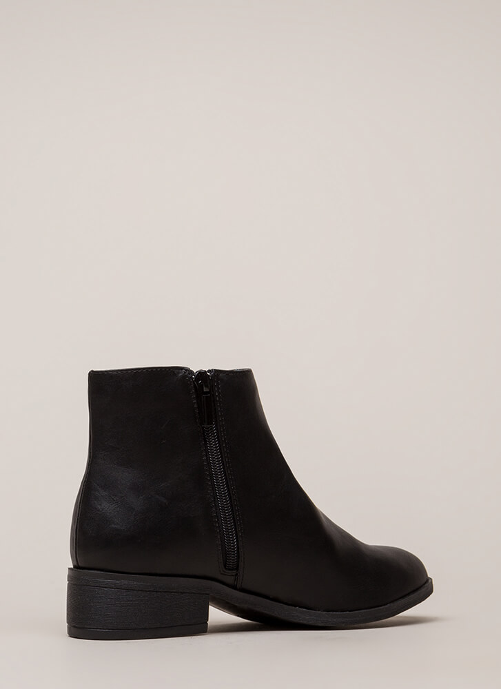 Simple Things Faux Leather Booties BLACK
