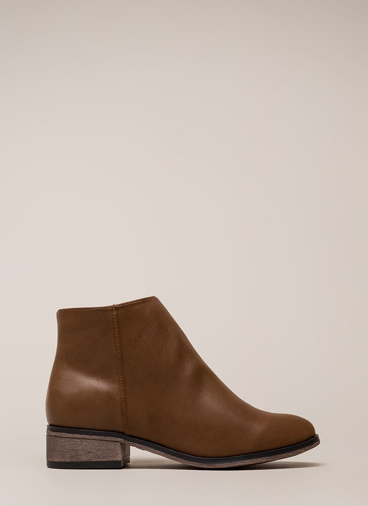 Simple Things Faux Leather Booties BROWN