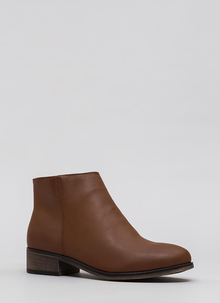 Simple Things Faux Leather Booties COGNAC