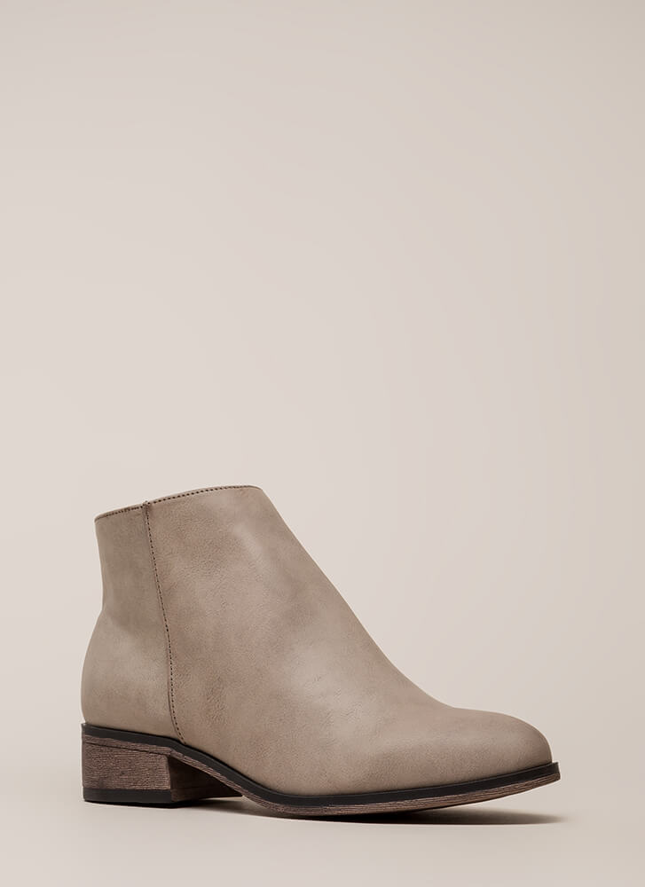 Simple Things Faux Leather Booties GREY
