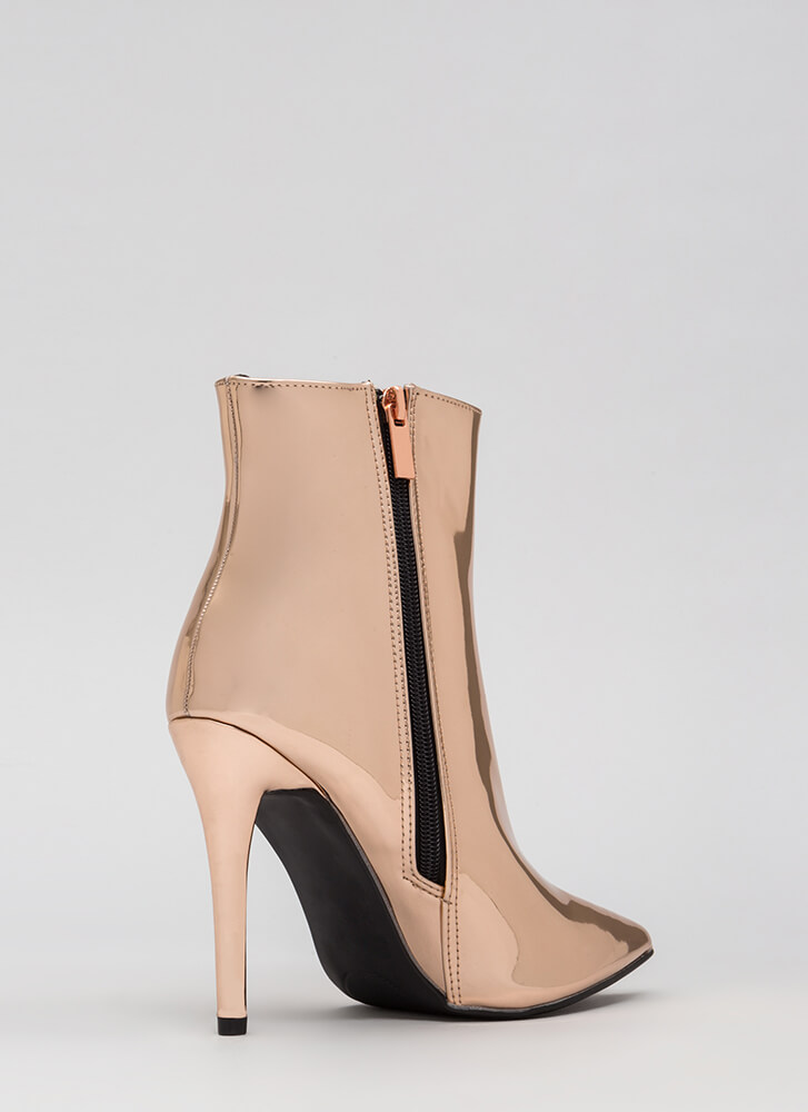 Self-Reflect Pointy Faux Patent Booties ROSEGOLD